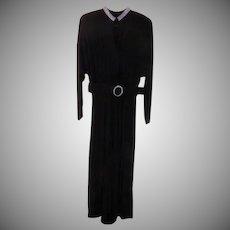 Rhinestone Collar Black Jumpsuit