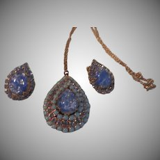 Blue Jelly Opal Necklace and Clip-on Earrings - Free shipping