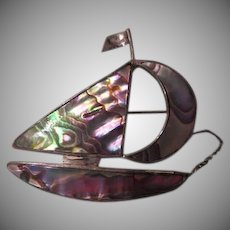 Come sail Away Abalone Silver Pin - Free shipping