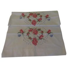 X-stitched Roses Embroidered Pillowcases - b250