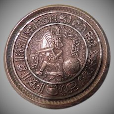 Large Aztec Warrior Mexican Silver Pendant/pin - Free shipping
