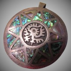 Abalone 8 point Star on Pendant/pin - Free shipping