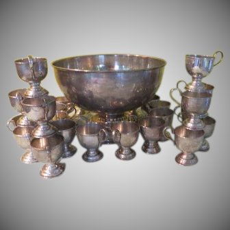Nickle Silver Punch Bowl with 24 Cups