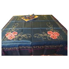 Red Flowers on Blue Tablecloth and Napkins - b257/8
