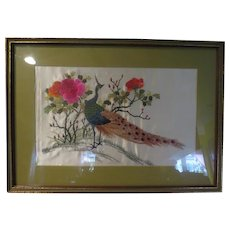 Colorful Peacock Embroidered Picture in Frame