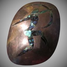 Modernist Abalone Archer in Silver Pendant/pin - Free shipping