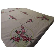 Baskets of Red Embroidered Flowers Tablecloth - b250