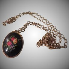 Roses on Black Locket with Chain Necklace - Free shipping