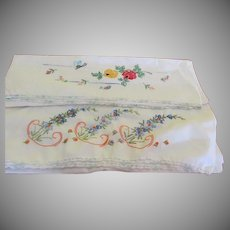 Butterfly and Flowers Embroidered Pillowcases - - b255