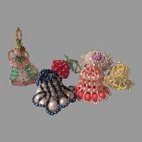 Angel, Bells and beaded Christmas Tree Ornaments - b263