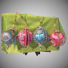 Pink and Blue Sequin Studded Christmas Tree Ornaments - b263