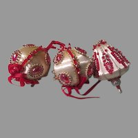 Red and White Beaded Christmas Tree Ornaments - b264