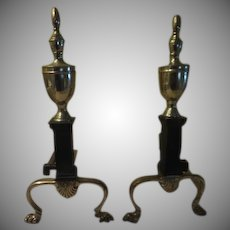 Brass and Black Fireplace Andirons