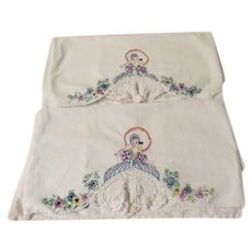 Ladies with Parasols Embroidered Pillow cases - b257