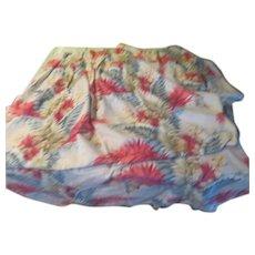 Blue and Pink Fern Print Barkcloth Pinch Pleat Drapes - L9