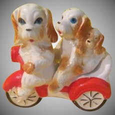 Bike Pedaling Pooches Salt and Pepper Shakers - b268