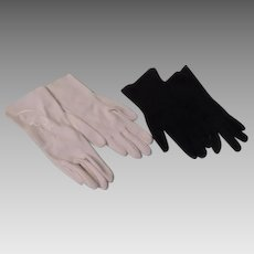 Embroidered White and Black Gloves - b261