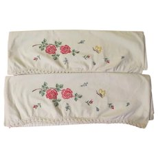 Butterflies and Flowers Embroidered Pillowcases - b257