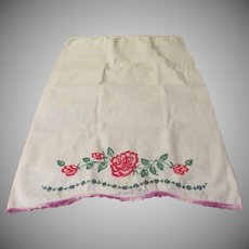 Pink Embroidered Flowers Pillow Cases