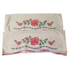 Red Roses Embroidered Pillow Cases - b257