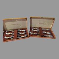 Sheffield Cutlery Butter Knives with Enamel Handles in Box - b257
