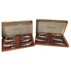Sheffield Cutlery Butter Knives with Enamel Handles in Box - b257