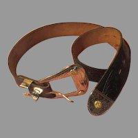Black Tooled Leather Belt - b257