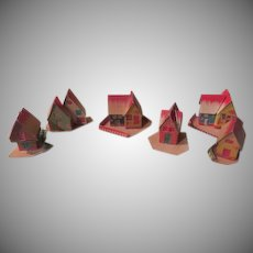 Tiny Mica Dusted Christmas Village Houses - b263