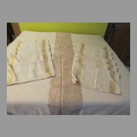 Ivory with Gold Thread Chicago Weaving Co Tablecloth and Napkins - L1