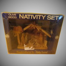 Carved Olive Wood Nativity from Bethlehem in Box - b266