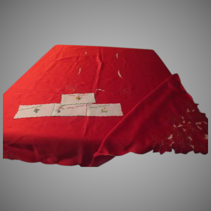 Gold Dusted Poinsettia Tablecloth And Napkins U003d L1 : Hodge Podge Lodge   1    Ruby Lane