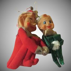 Large and Small Pixie Knee Huggers Christmas Ornaments - xb18