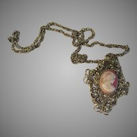 Lady in Profile Locket on Chain - Free shipping