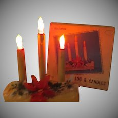 Electrified Christmas Log with Candles - b268