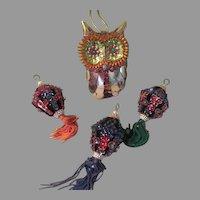 Sequined Big Eye Owl and Lanterns Christmas Tree Ornaments - b264