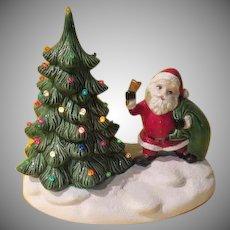 Lighted Ceramic Santa with Sack and Tree - b267