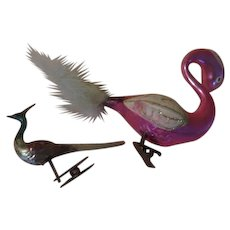 Large and Small Glass Bird Christmas Tree Ornaments - xb18