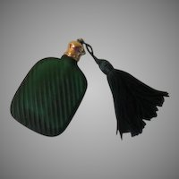 Tiny Green Glass Travel Perfume Bottle with Tassel - b264