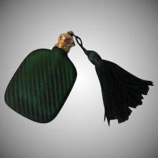 Tiny Green Glass Travel Perfume Bottle with Tassel - b264