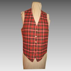 Plaid Reverses to Red Vest