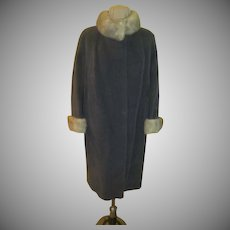 Evans Fur Trimmed Gray Wool  Coat