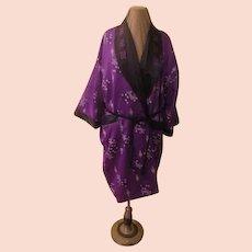 Reversible Purple Print to Embroidered Black Kimono/robe