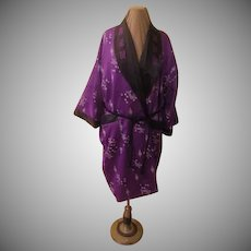 Reversible Purple Print to Embroidered Black Kimono/robe