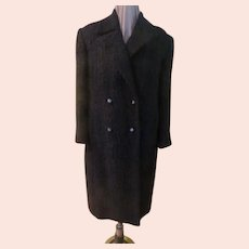 Fuzzy Mohair Double Breasted Black Coat