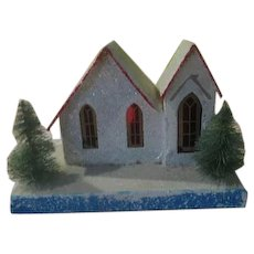 Snow Glittered Cardboard Village House - xb18