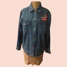 Patriotic X-stitched American Denim Jacket