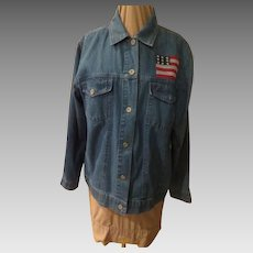 Patriotic X-stitched American Denim Jacket