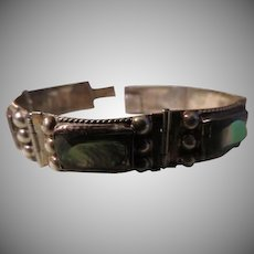 Abalone Rectangle and Silver Bead Bracelet - Free shipping