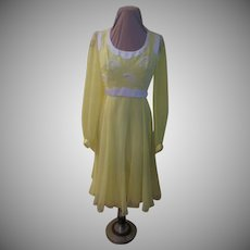 Linen and Chiffon Yellow Dress