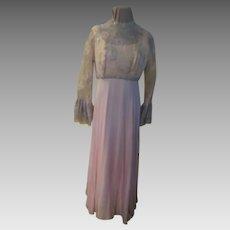 Silver Thread on Pink Chiffon Skirt Dress